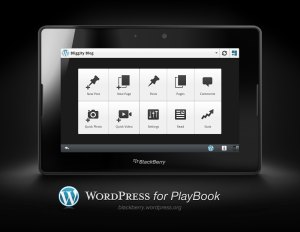 WordPress for PlayBook - showing the Dashboard - blackberry.wordpress.org