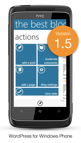 Version 1.5 of WordPress for Windows Phone - showing the updated dashboard