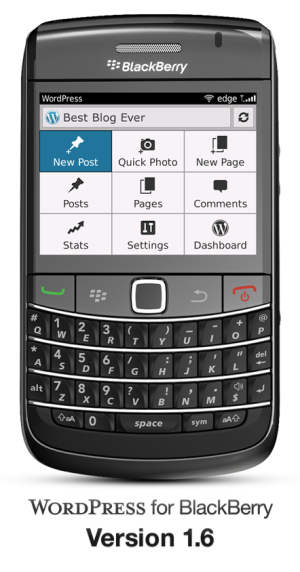 Version 1.6 of WordPress for BlackBerry: device showing the Dashboard and the Action Bar.