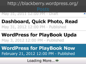 Infinite Scroll in version 1.6 of WordPress for BlackBerry