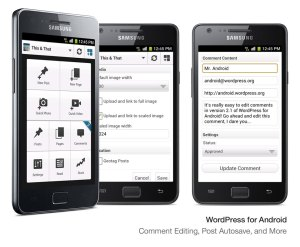 Device examples of version 2.1 of WordPress for Android