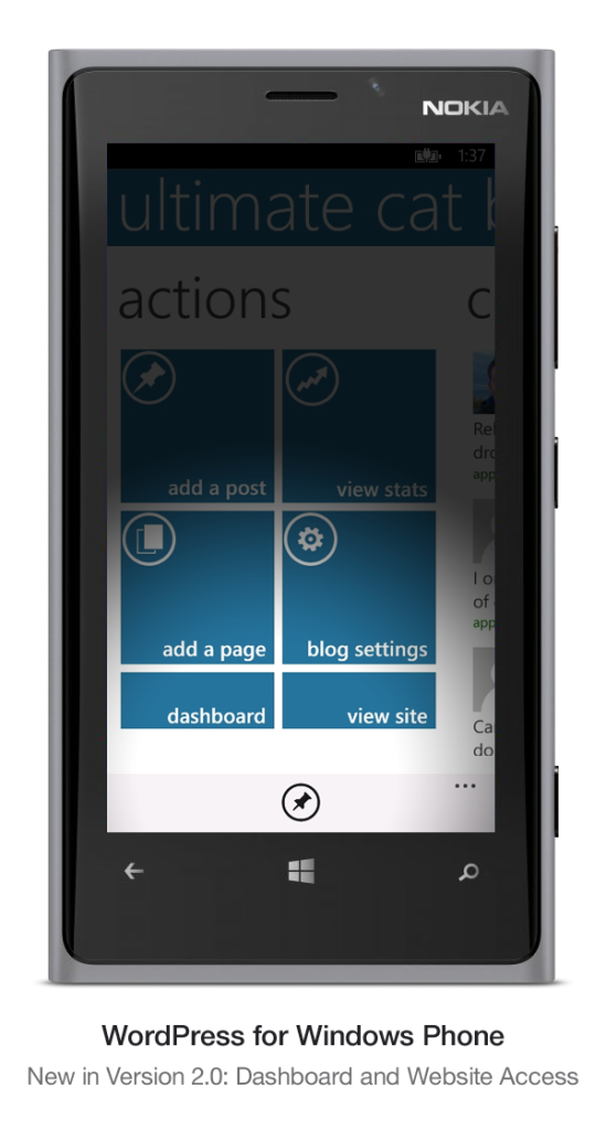 Version 2.0 of WordPress for Windows Phone: Dashboard and Website Access