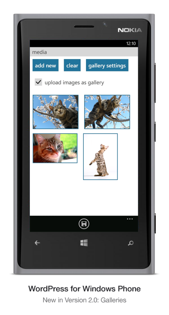 Version 2.2 of WordPress for Windows Phone: Gallery Support for Self-Hosted sites