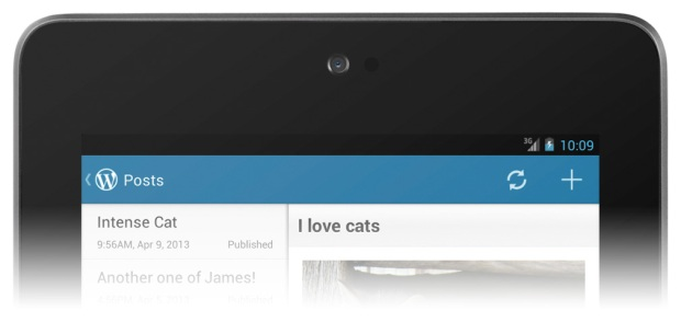 Version 2.3 of WordPress for Android: action bar on a Nexus 7