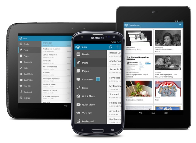 Version 2.3 of WordPress for Android: menu drawer and action bar