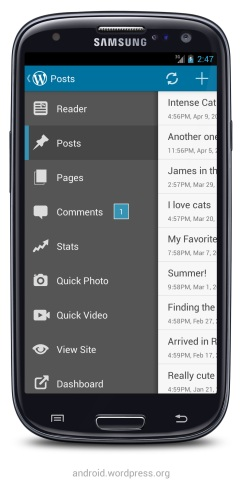 Version 2.3 of WordPress for Android: menu drawer on Samsung Galaxy S3
