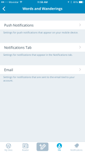 Choose whether to receive push notifications, in-app notifications, or notifications by email.