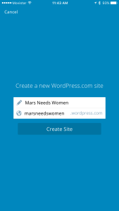 Pick a name and a URL for your new WordPress.com site.