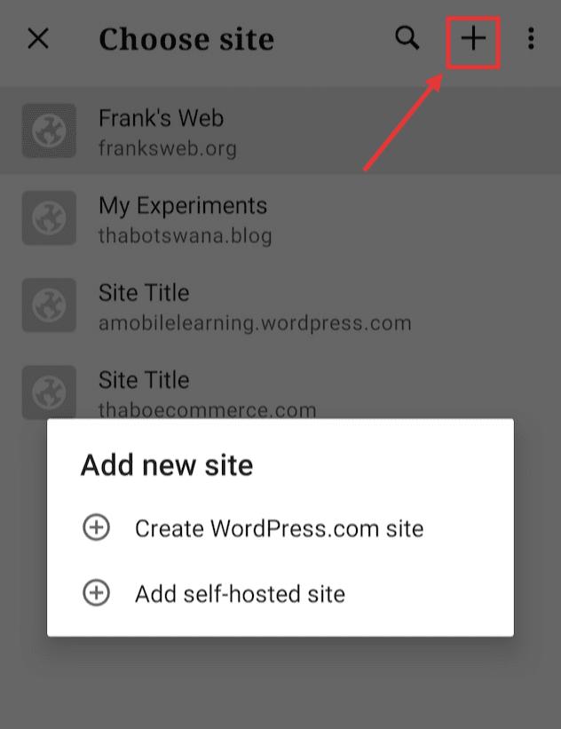 """WordPress 移动应用程序中的""""添加新站点"""""""