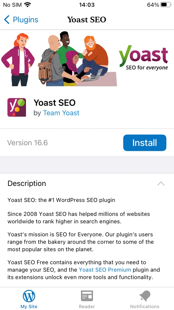 Install plugin in WordPress iOS app