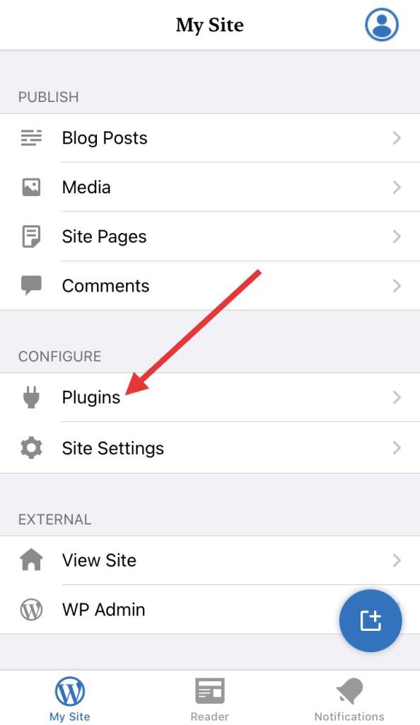 Plugins menu item in WordPress iOS app