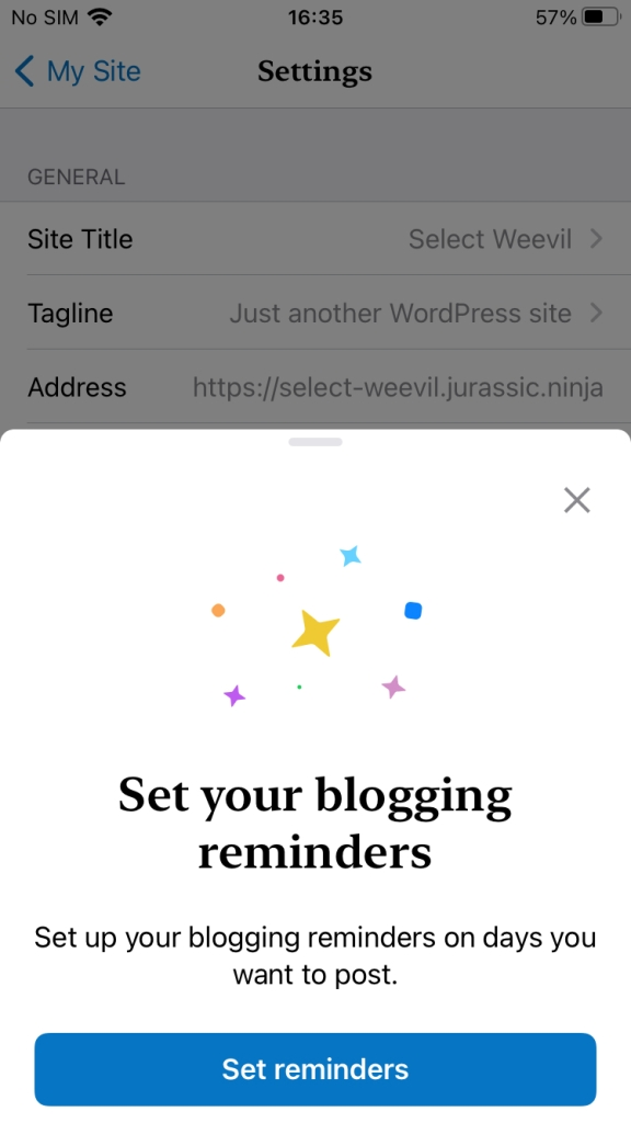 Set reminders in WordPress mobile app