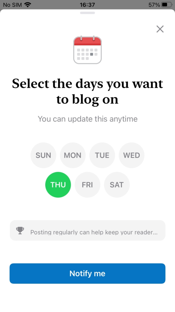 Select the days you want to write in WordPress mobile app