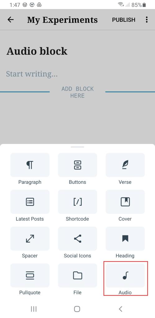 Block inserter in WordPress mobile app