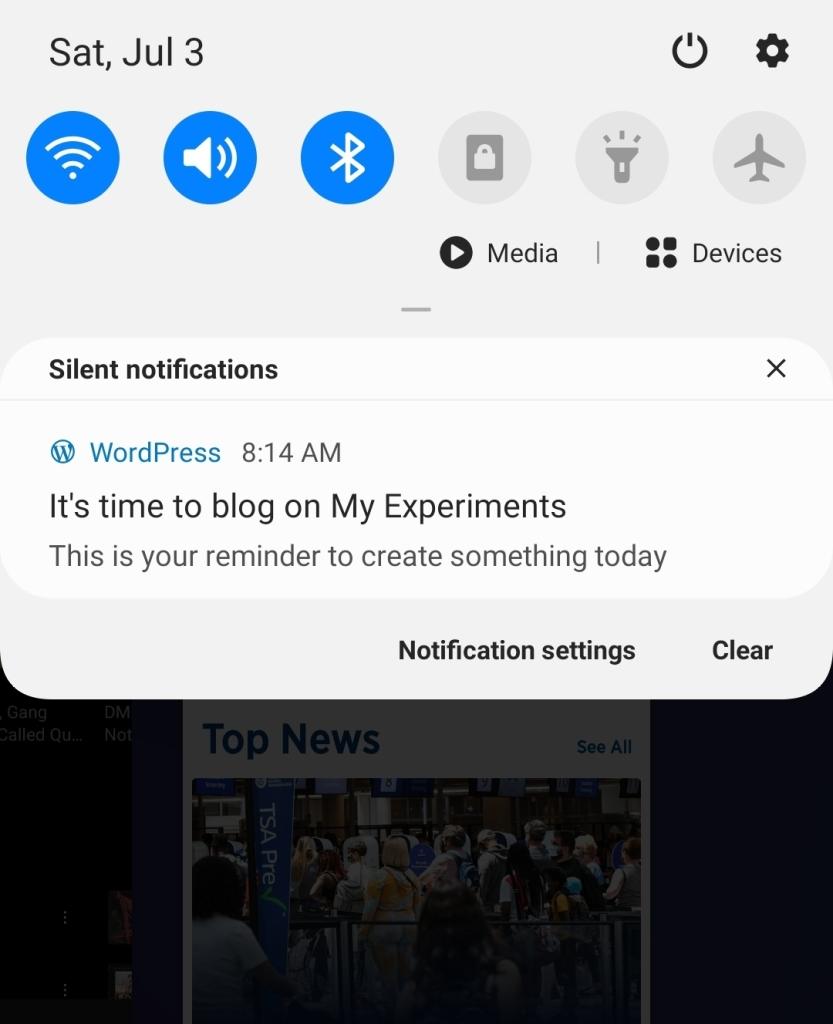Blogging Reminders push notification