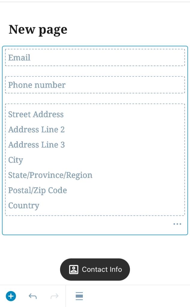 Contact Info block in WordPress mobile app