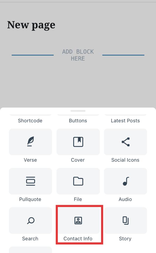 Contact info block in block inserter on WordPress mobile app