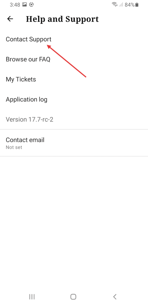 Contact support in WordPress mobile app