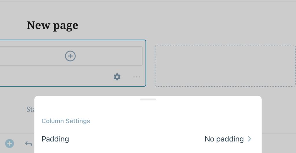 Column Settings in Layout Grid block on WordPress mobile app