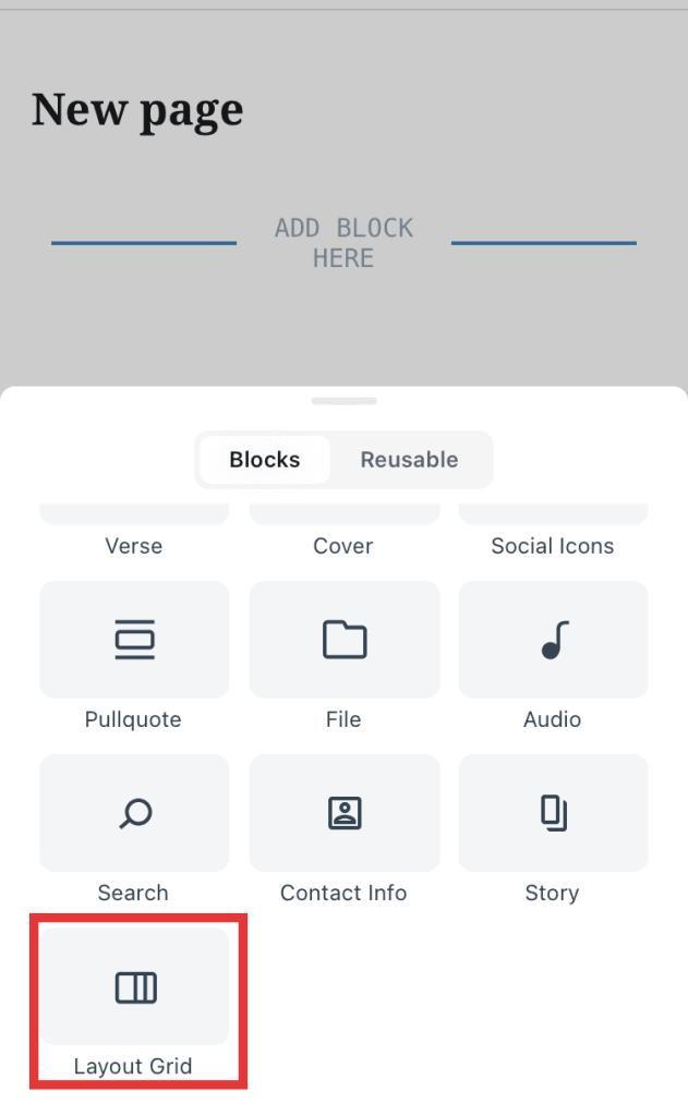 Layout Grid block in block inserter on WordPress mobile app