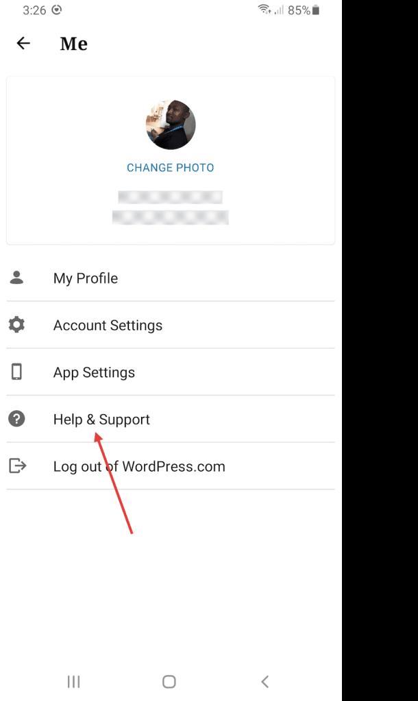 Help & Support option in WordPress mobile app