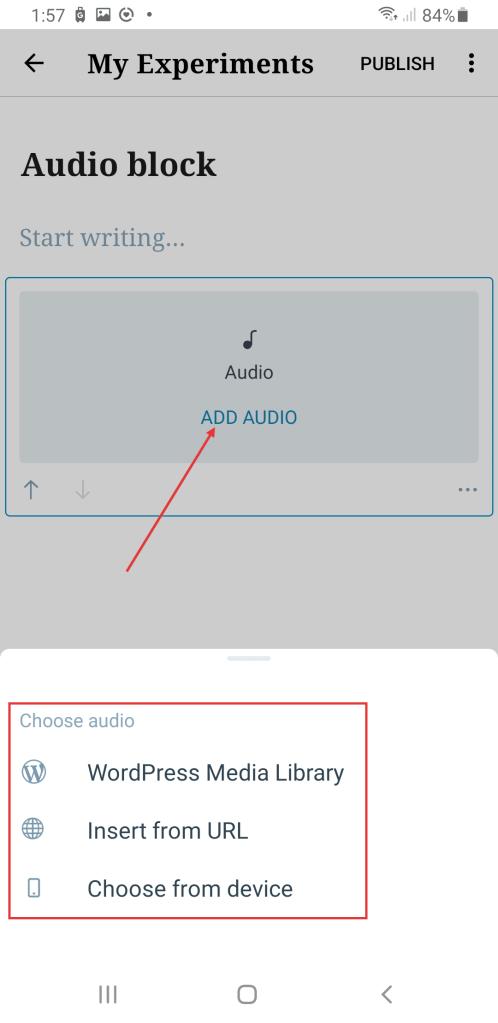 Audio selection options in WordPress mobile app