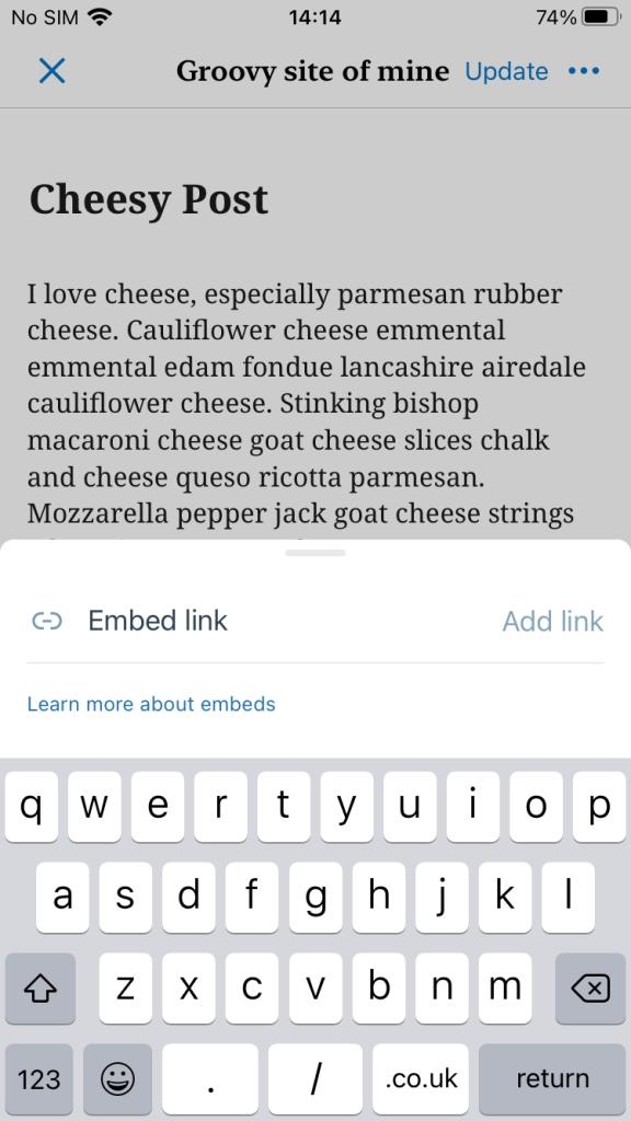 Embed block in WordPress mobile app
