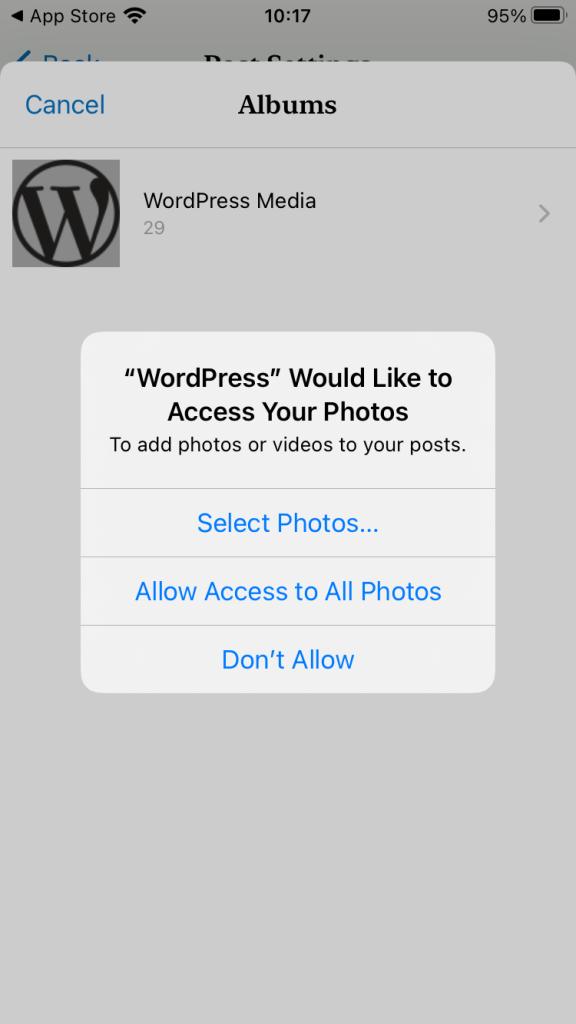 WordPress for iOS app photos permissions