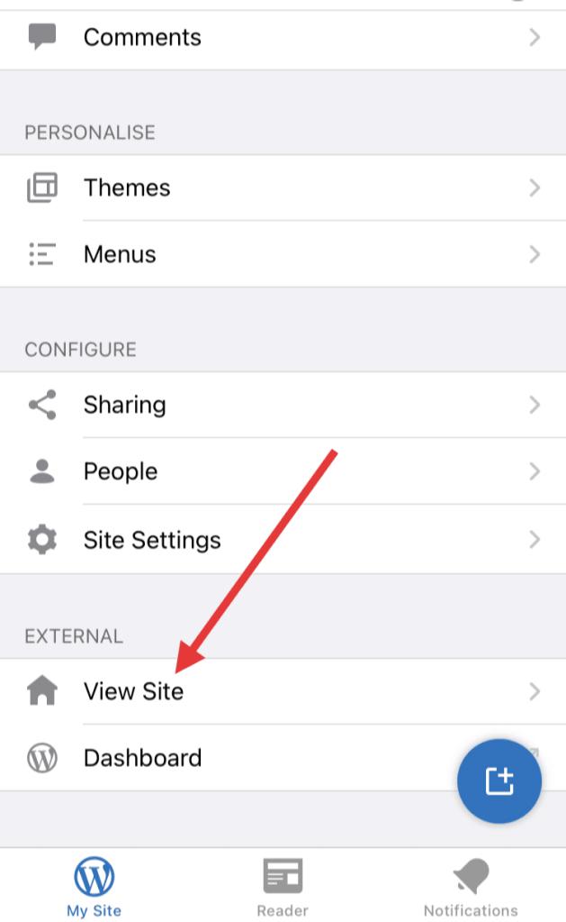 View Site in WordPress mobile app homepage